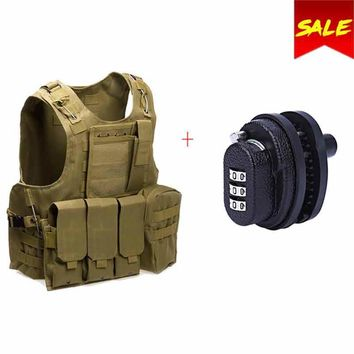 2018 New Tactical Military Hunting Vest Swat Field Battle Airsoft Molle Vest + 3-Dial Zinc Alloy Trigger Password Lock Gun Key