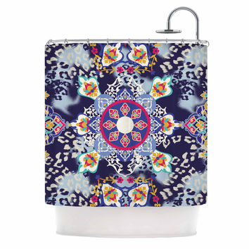 "Victoria Krupp ""Eastern Medallion"" Blue Multicolor Vector Shower Curtain"