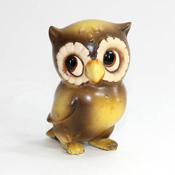 Josef's Originals Owl Figurine Made in Japan Vintage 70's | Josef's Owl | Brown Yellow Owl with Big Eyes