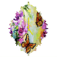 Ginette Fine Art Butterflies and Peonies Baroque Clock