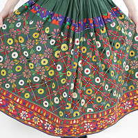 Vintage 70s Embroidered Hippie India Mirror skirt