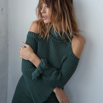 Open Shoulder Knit Dress