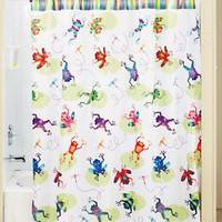 Colorful Frog Lily Pad & Dragonflies Shower Curtain Bathroom Bath Decor