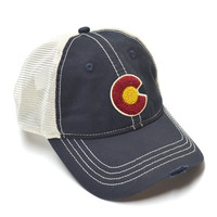 Classic Colorado Flag Vintage Mesh Trucker Hat - Navy/Ivory