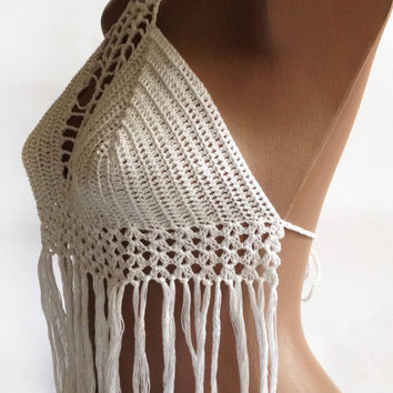 White Crochet Halter Top Crochet From Elenavorobey On Etsy