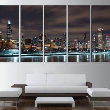 large wall art chicago skyline wall art canvas, extra large wall art, chicago Canvas Print,  skyline wall art print chicago canvas t353