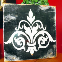Shabby Chic Wood Sign Damask in Black by 13pumpkins on Etsy