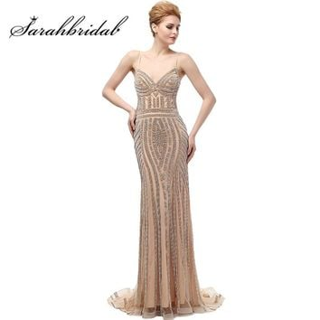 Luxury Mermaid Evening Dresses Long Champagne Crystal Backless In Stock Party Prom Gowns Spaghetti Straps Robe De Soiree CC116