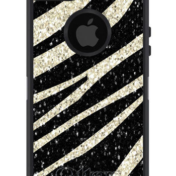 OTTERBOX DEFENDER iPhone 5 4/4s Case Custom ZEBRA Glitter Pattern - Monogram Personalized