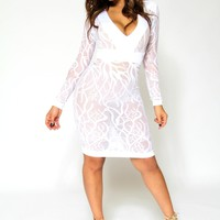 Sexy White V-Neck Long Sleeves Sheer Lace Bodycon Midi Dress