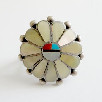 Vintage Zuni Sunface MOP Coral Turquoise Onyx Sterling Silver Ring Size 4.75