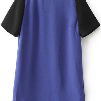 Black and Blue Color Block Mesh Sleeve Loose Fitting Dress
