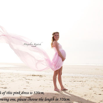 Maternity Maxi Long Dress Boob Tube On Top Free Size Split Front Chiffon For Maternity Photography Props Dresses for Photo Shoot