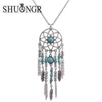 SHUANGR Trendy Style Dreamcatcher Pendant Mandala Lotus Necklace Yoga Pendant Jewelry Dream Catcher Necklace