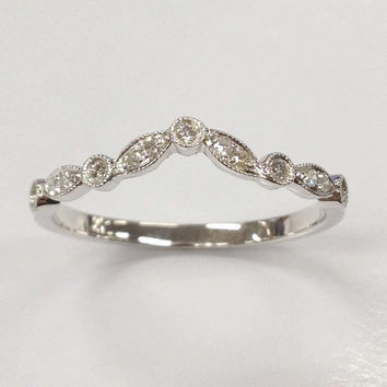 Diamond Wedding Ring,14K White Gold Curved,Art Deco Antique,Round Cut Diamond,Half Eternity Matching Band,Anniversary Fine Ring,Stackable