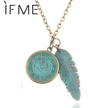 Bronze Clock And Leaves Pendant Necklace