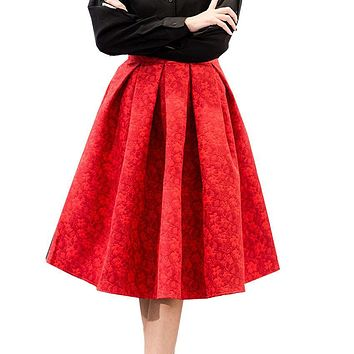 Spring New Retro High Waist Skirt Elegant Ladies Jacquard Midi Pleated Skirts Women Knee-Length Saia Feminina Plus Size S~XL