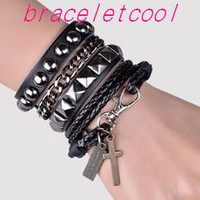 Punk Rock Style Black Leather Bracelet Couple Bracelet Women Leather Bracelet Men Leather Bracelet 1250A