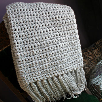 Best Chunky Crochet Blanket Products On Wanelo Gorgeous Light Gray Throw Blanket