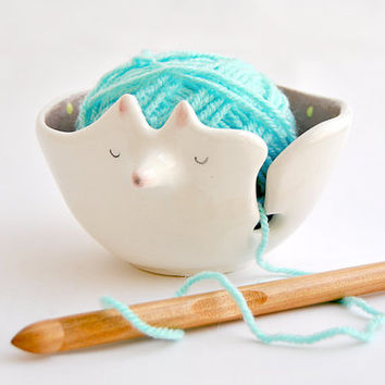 Ceramic Fox Yarn Bowl Decorated in Violet with Yellow Polka Dots-Made To Order