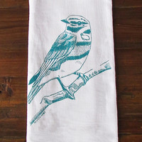sky blue bird tea towel | Redinfred