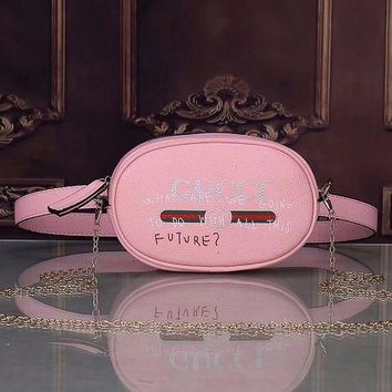 GUCCI Waist Bag Leather Chain Handbag Satchel Shoulder Bag Women Bag Pink