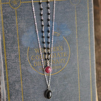 Sterling Silver Layering Necklaces, Black and Red Necklaces, Ruby Necklace, Czech Glass Necklace, Beaded Necklace