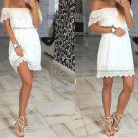 2017 Summer Fashion women Elegant Vintage sweet lace Dress stylish sexy slash neck casual slim beach Summer Sundress vestidos