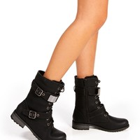 Black Plated Combat Boots