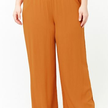 Plus Size Smocked Wide-Leg Pants