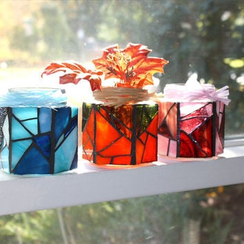 Blue Stained Glass Jar Candle Holder, Blue Mosaic Candle Holder Jar/Vase