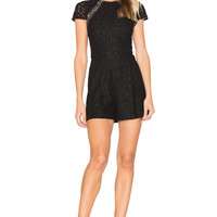 Alice + Olivia Rozzi Lace Romper in Black & Sesame