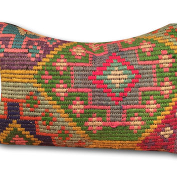 Vintage Turkish Star Kilim Rug Pillow Cover Lumbar 21""