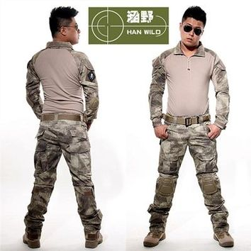 Tactical military uniform clothing army of the military combat uniform tactical pants with knee pads camouflage hunting clothes