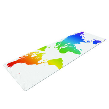 Rainbow World Print Yoga Mat