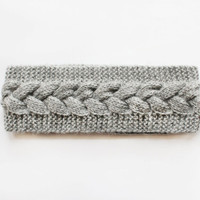 Grey Cable Knit Headband, Stretchy Knit Headwarmer, Braid Knitted Head Band Womens Accessory