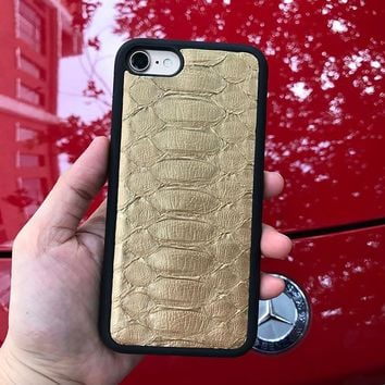 2017 Luxury Brand Golden Color snake Mobile Phone Case For Iphone 7 plus yellow Genuine Leather Cover case for iphone X