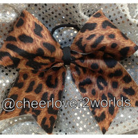 Cheer Bow - Black & Brown Cheetah Cheerleading Dance Ribbon