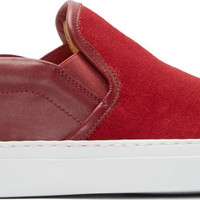 Red Canvas & Leather Slip-On Sneakers