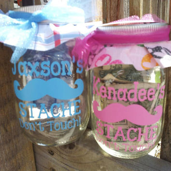 DIY Personalized Mustache Jar  DECAL ONLY