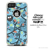 The Abstract Owls Blue Pattern Skin For The iPhone 4-4s or 5-5s Otterbox Commuter Case