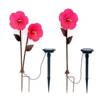Trendscape Hibiscus 3 Head Bronze Solar LED Path Light-GX-2505-3 at The Home Depot