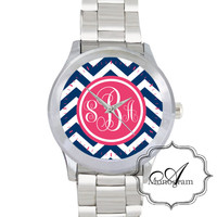 Monogrammed Pink and Navy Chevron watch