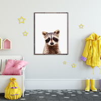 Racoon Illustration, Racoon Poster, Racoon Cute Baby, Nursery Poster, Nursery Wall decor, Baby Animals, Animal Poster, Baby Shower, Kids Art