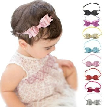 New European Style Baby Child Bow Hair Accessories Baby Hair Band Bow Shiny Jewelry Newborn Baby Girl Headbands