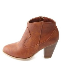 Bamboo Chunky Heel Western Ankle Boots by Charlotte Russe - Chestnut