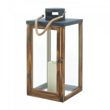 Square Metal Top Wooden Lantern