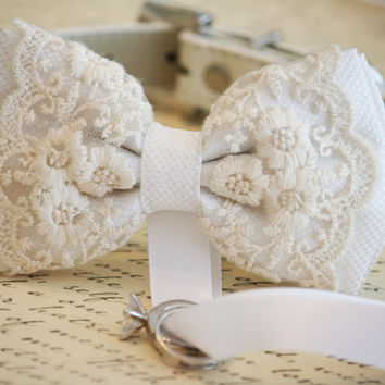 White Dog Bow Tie, Dog ring bearer, Pet Wedding accessory, Pet lovers, Chic and Classy, Lace bow