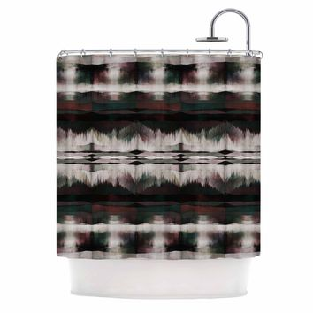 """Ebi Emporium """"NATIVE SONG, FESTIVE"""" Multicolor Red Tribal Abstract Mixed Media Watercolor Shower Curtain"""