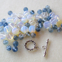 Blueberry Quartz Opalite  Pewter Bracelet Beads Kit DIY